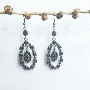 Gray and Silver Vintage Earrings